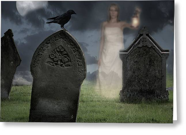 Night Lamp Greeting Cards - Woman Haunting Cemetery Greeting Card by Amanda And Christopher Elwell