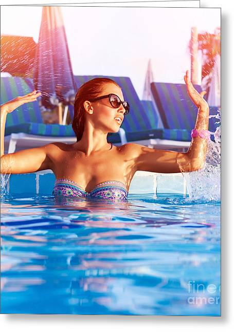 Swimwear Greeting Cards - Woman have fun in the pool Greeting Card by Anna Omelchenko