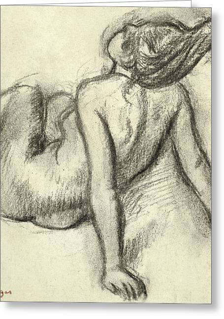Figure Study Pastels Greeting Cards - Woman having her hair styled Greeting Card by Edgar Degas