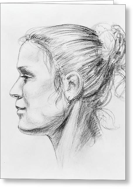 Nose Drawings Greeting Cards - Woman Head Study Greeting Card by Irina Sztukowski