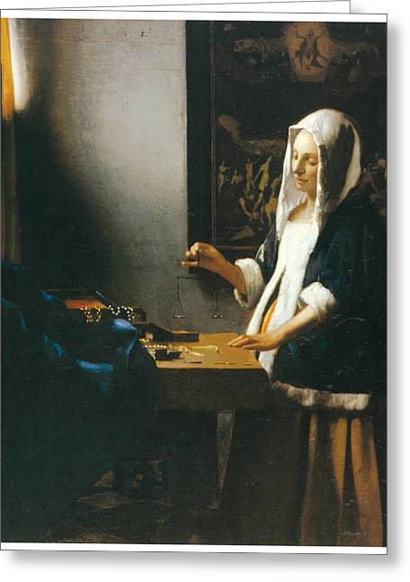 Woman Holding A Balance Greeting Card by Johannes Vemeer