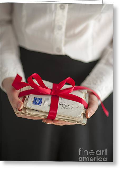 Satin Skirt Greeting Cards - Woman Holding A Bundle Of Vintage Letters Bound With Red Ribbon Greeting Card by Lee Avison