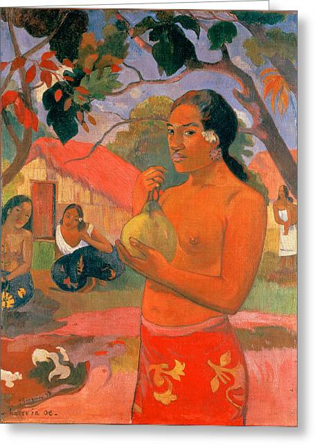 Oes Greeting Cards - Woman Holding a Fruit.Where Are You Going . Eu haere ia oe Greeting Card by Paul Gauguin