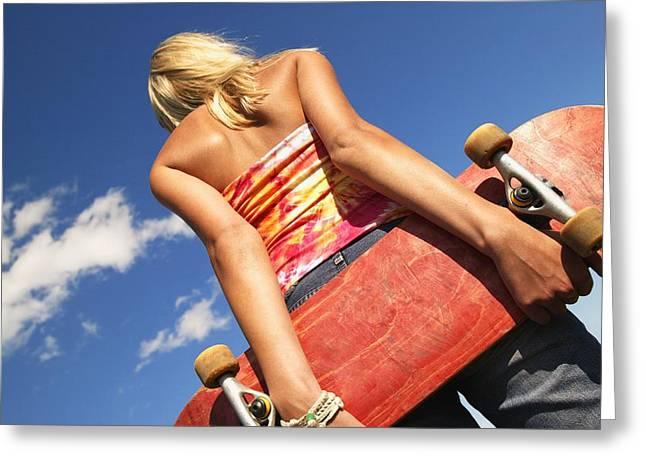 Skate Board Boarding Boarder Skateboarding Greeting Cards - Woman Holding A Skateboard Greeting Card by Don Hammond