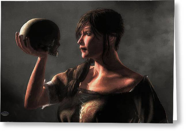 Pondering Greeting Cards - Woman Holding a Skull Greeting Card by Daniel Eskridge