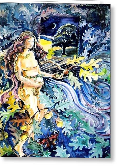 Universal Mother Greeting Cards - Woman Holding an Acorn -  Greeting Card by Trudi Doyle