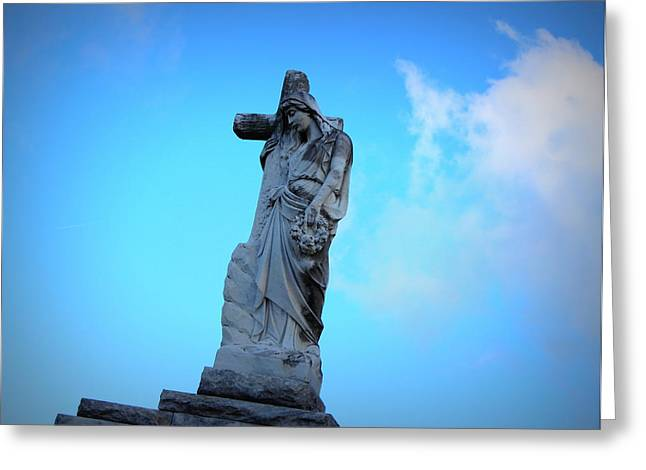 Metairie Cemetery Greeting Cards - Woman Holding Cross Greeting Card by Beth Vincent