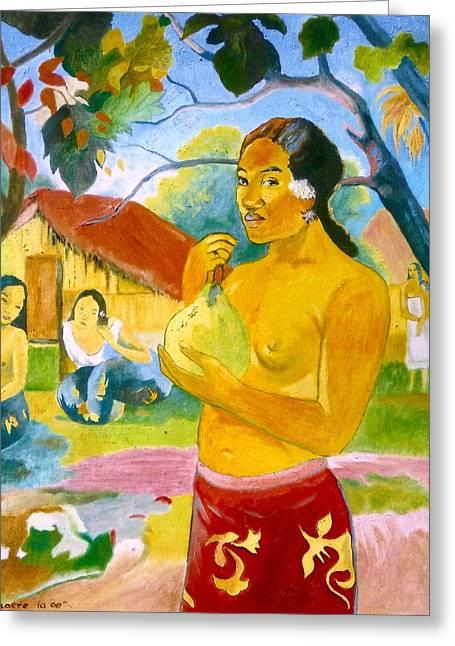 Gorecki Greeting Cards - Woman Holding Fruit Greeting Card by Henryk Gorecki