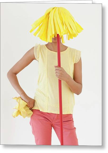 Woman Holding Mop In Front Of Face Greeting Card by Ian Hooton
