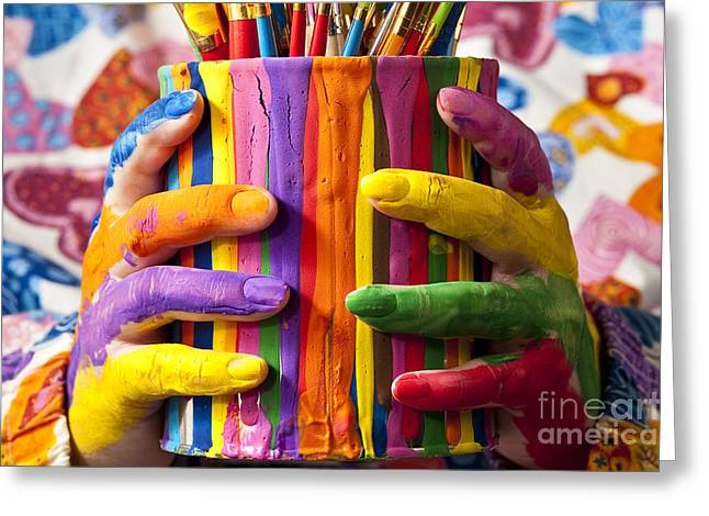 Paint Cans Greeting Cards - Woman Holding Painted Can With Painted Greeting Card by Jim Corwin