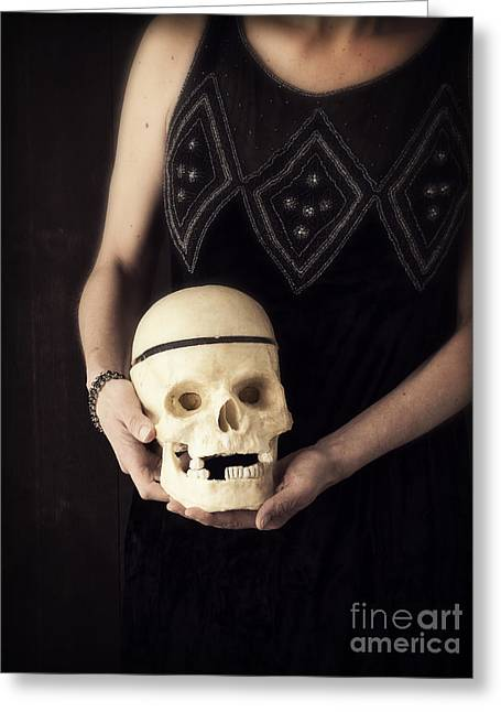Flapper Greeting Cards - Woman Holding Skull Greeting Card by Edward Fielding