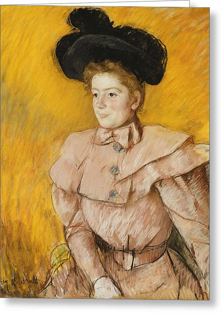 Cassatt Greeting Cards - Woman In A Black Hat Greeting Card by Celestial Images