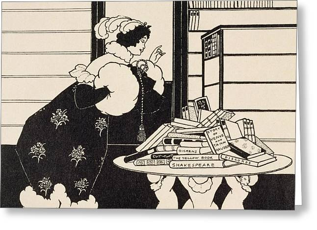 Yellow Line Drawings Greeting Cards - Woman in a Bookshop Greeting Card by Aubrey Beardsley