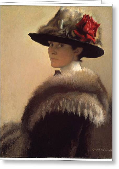 Victorian Era Woman Greeting Cards - Woman in a Fur Hat Greeting Card by Gretchen Woodman Rogers