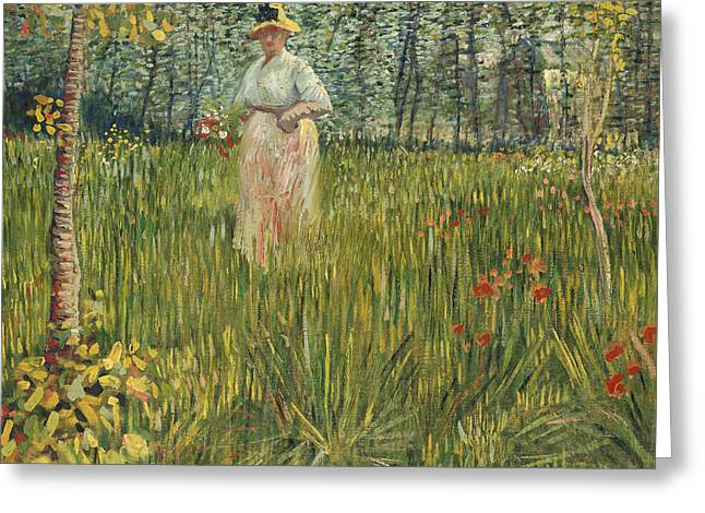 Woman In A Dress Greeting Cards - Woman in a Garden Greeting Card by Vincent van Gogh