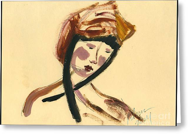Abstract Woman In Color Greeting Cards - Woman in a hat looking right  Greeting Card by Cathy Peterson