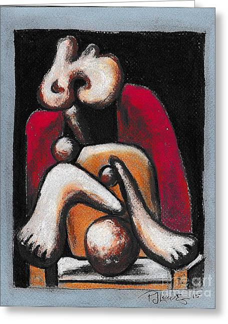 Work Pastels Greeting Cards - Woman in a red armchair Greeting Card by P J Lewis