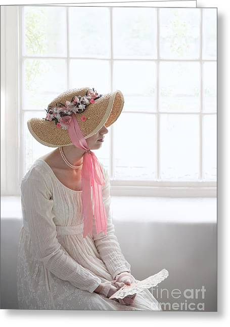 Long Sleeved Dress Greeting Cards - Woman In A Regency Period Empire Line Dress With Straw Bonnet Si Greeting Card by Lee Avison