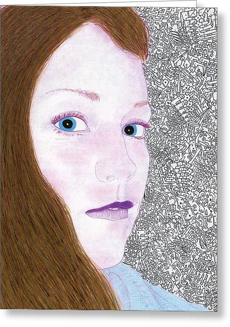 Hallucination Drawings Greeting Cards - Woman in a Restaurant Greeting Card by Davivid Rose