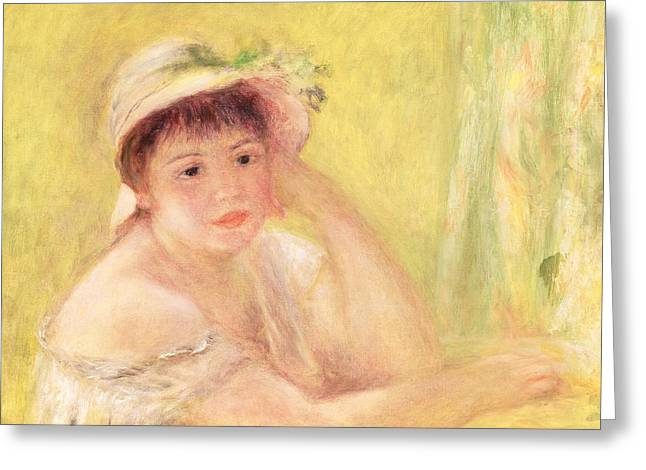 Woman In A Straw Hat, 1879 Greeting Card by Pierre Auguste Renoir
