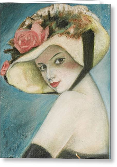 Lipstick Pastels Greeting Cards - Woman in a Straw Hat Greeting Card by Unknown