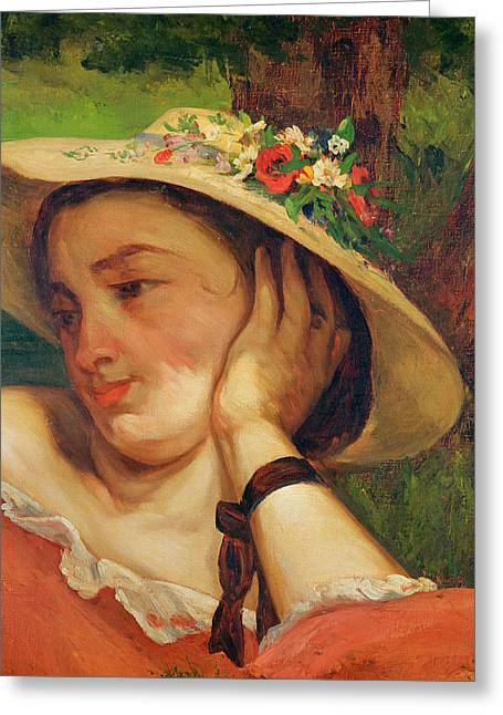 Off-the-shoulder Greeting Cards - Woman in a Straw Hat with Flowers Greeting Card by Gustave Courbet