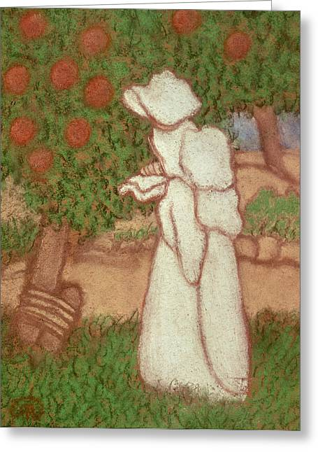 Eerie Greeting Cards - Woman In A White Dress, 1896 Pastel On Paper Greeting Card by Jozsef Rippl-Ronai