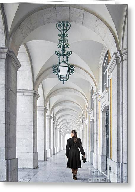 Historic Buildings Greeting Cards - Woman in Archway  Greeting Card by Carlos Caetano