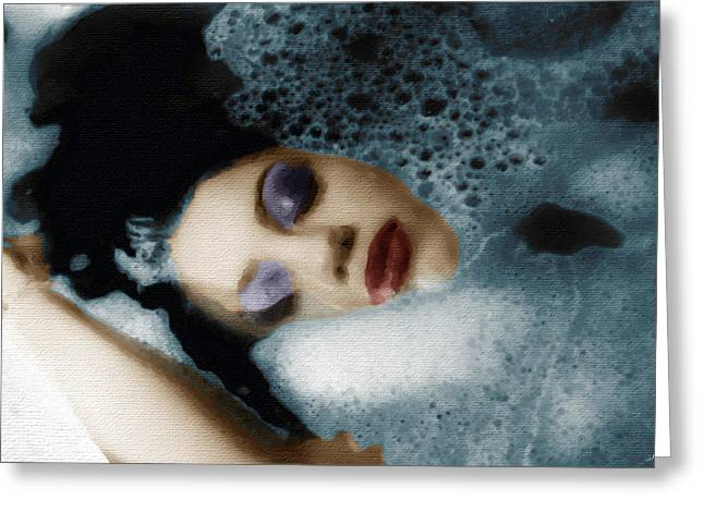 Despair Mixed Media Greeting Cards - Woman In Bath Horizontal Greeting Card by Tony Rubino