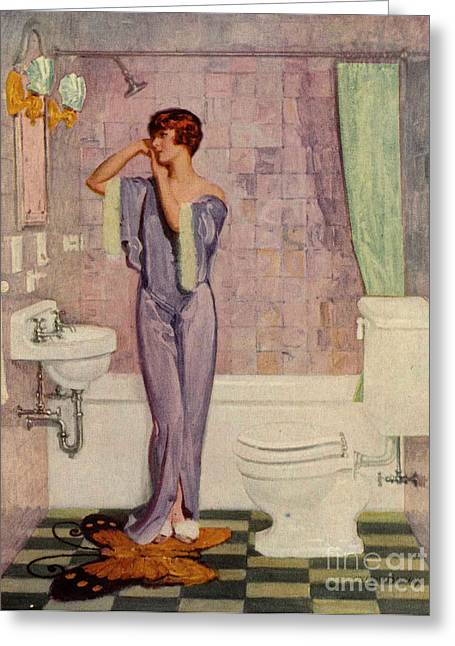 WomenÕs Drawings Greeting Cards - Woman In Bathroom 1930s Uk Cc Cc Greeting Card by The Advertising Archives
