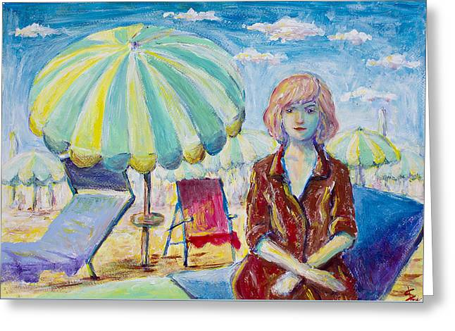 Woman In Beach Greeting Card by Erki Schotter