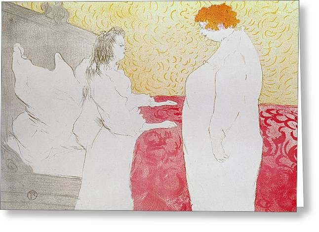 Sat Pastels Greeting Cards - Woman in Bed Greeting Card by Henri de Toulouse-Lautrec