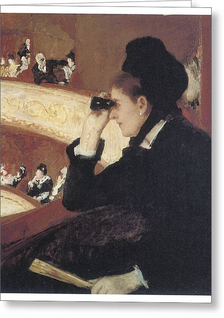 Mary Cassatt Greeting Cards - Woman in Black at the Opera Greeting Card by Mary Cassatt