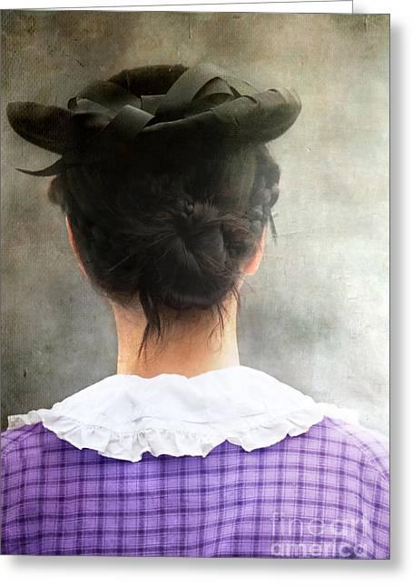 Plaid Dress Greeting Cards - Woman in Black Hat Greeting Card by Stephanie Frey
