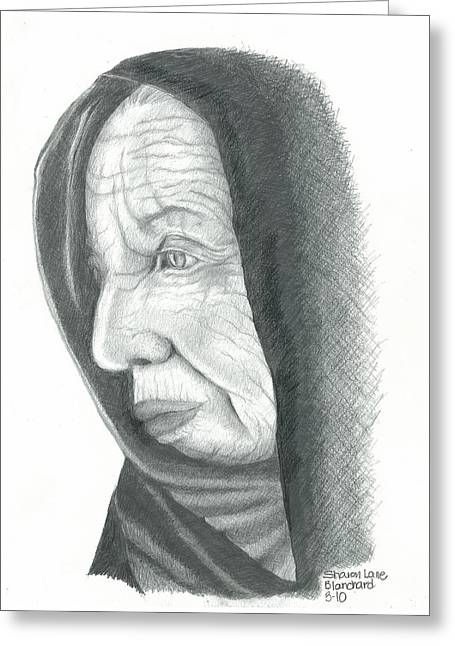 Pensive Drawings Greeting Cards - Woman in Black Greeting Card by Sharon Blanchard