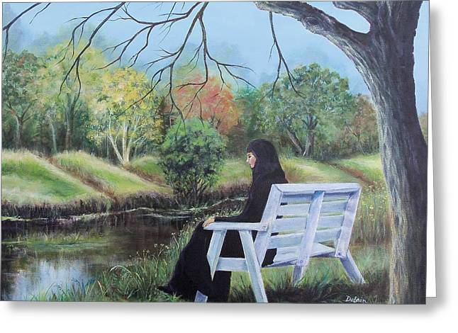 Deep In Thought Paintings Greeting Cards - Woman in Black Greeting Card by Susan DeLain