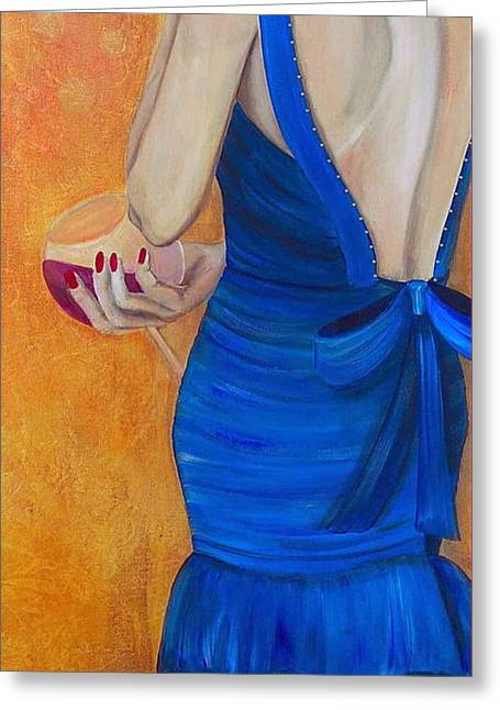 Pinot Noir Mixed Media Greeting Cards - Woman in Blue Greeting Card by Debi Starr