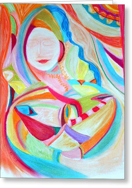 Abstract Woman In Color Greeting Cards - Woman in Colorful Dream Greeting Card by Elizabeth Cassidy