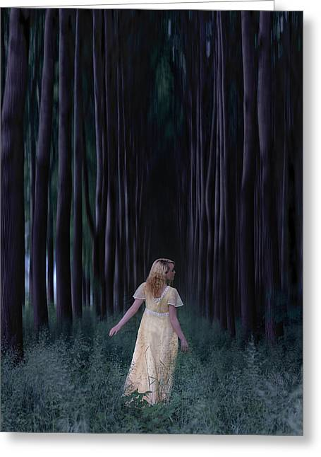 Vernal Greeting Cards - Woman In Forest Greeting Card by Joana Kruse