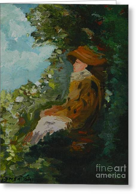 Pine Wood Chassis Paintings Greeting Cards - Woman in Garden Greeting Card by Denisa Laura Doltu