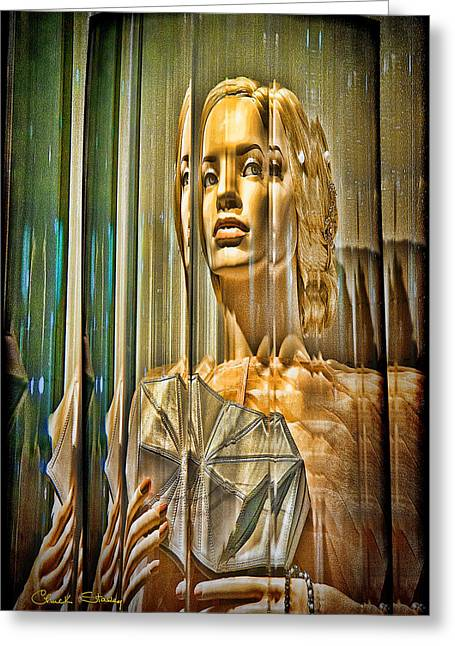 Ladies Of Rodeo Drive Greeting Cards - Woman in Glass - Version One Greeting Card by Chuck Staley