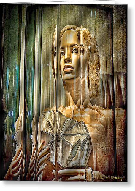 Ladies Of Rodeo Drive Greeting Cards - Woman in Glass Greeting Card by Chuck Staley