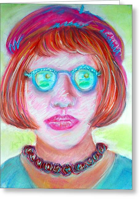 Pensive Pastels Greeting Cards - Woman in Glasses and Beret Greeting Card by Elizabeth Cassidy