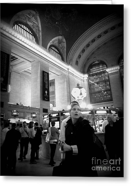 Lack And White Greeting Cards - Woman in Grand Central - Black and White Greeting Card by Miriam Danar