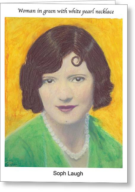 Art Nouveau Pastels Greeting Cards - Woman in green with white pearl necklace Greeting Card by Soph Laugh
