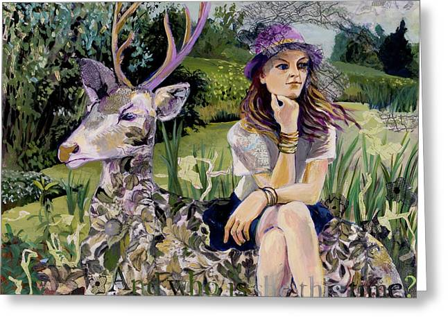Woman In Hat Dreams With Stag Greeting Card by Tilly Strauss