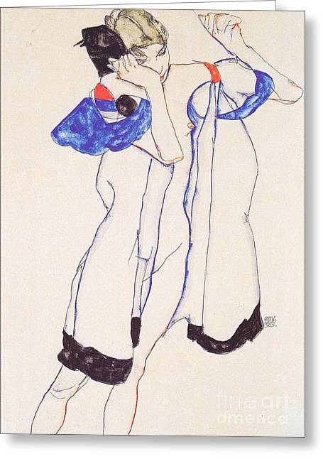 Woman In Housecoat Greeting Card by Pg Reproductions