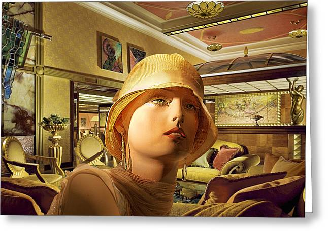Prague Mixed Media Greeting Cards - Woman in Lobby Greeting Card by Art Deco Designs