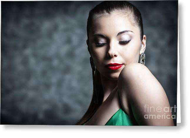Hair Pulled Back Greeting Cards - Woman In Make Up With Hair Tied Back And Green Dress Greeting Card by Joe Fox