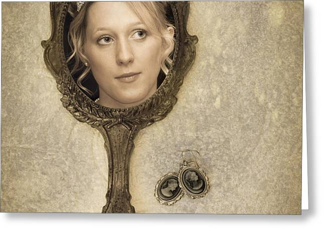 Woman In Mirror Greeting Card by Amanda And Christopher Elwell